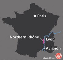 Location of Rhone Valley in France