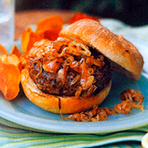 Lamb Burgers with Carmelized Shallots
